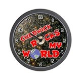 Chadwick Rocks My World (Red) Wall Clock