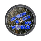 Jayson Rocks My World (Blue) Wall Clock