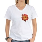 Coral Red Daylily Women's V-Neck T-Shirt