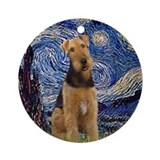 Starry Night & Airedale #6 Keepsake (Round)