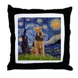 Starry Night & Airedale #6 Throw Pillow