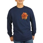 Coral Double Daylily Long Sleeve Dark T-Shirt