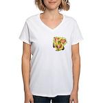 Pink w/ Ruffles Daylily Women's V-Neck T-Shirt
