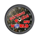 Gustavo Rocks My World (Red) Wall Clock