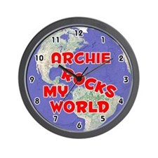 Archie Rocks My World (Red) Wall Clock
