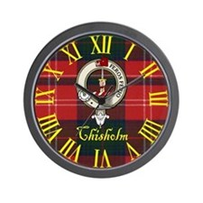 Chisholm Clan Crest / Tartan Wall Clock