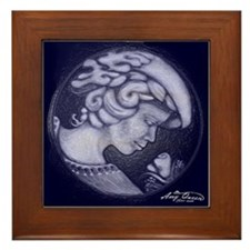Lillian cameo royal blue Framed Tile