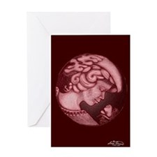 Lillian cameo burgundy Greeting Card