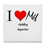 I Heart My Welding Inspector Tile Coaster