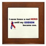 Never Knew A Hero.....Godson (ARMY) Framed Tile