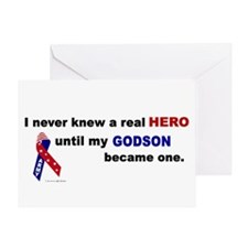 Never Knew A Hero.....Godson (ARMY) Greeting Card