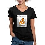 Feline Network Women's V-Neck Dark T-Shirt