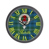 Melville Clan Crest / Tartan Wall Clock
