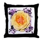 Rose and purple splash Throw Pillow