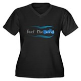 Feel The Wind Women's Plus Size V-Neck Dark T-Shir