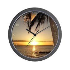 Hawaii Sunset on the Beach Wall Clock
