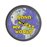 Nana Rocks My World (Gold) Wall Clock