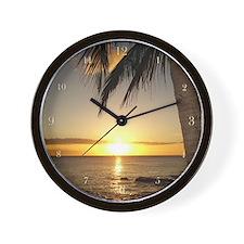 Waikiki Hawaii Sunset on the Beach Wall Clock
