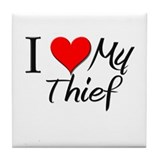 I Heart My Thief Tile Coaster