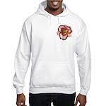 Red Ruffled Daylily Hooded Sweatshirt
