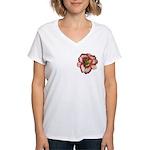 Red Ruffled Daylily Women's V-Neck T-Shirt