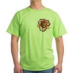 Red Ruffled Daylily Green T-Shirt