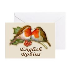 English Robins & Holly Greeting Card