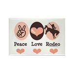 Peace Love Cowboy Rodeo Horse Rectangle Magnet