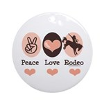 Peace Love Cowboy Rodeo Horse Ornament (Round)