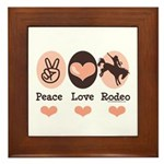 Peace Love Cowboy Rodeo Horse Framed Tile