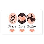 Peace Love Cowboy Rodeo Horse Sticker (Rectangular
