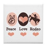 Peace Love Cowboy Rodeo Horse Tile Coaster