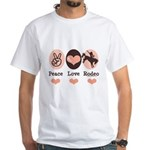Peace Love Cowboy Rodeo Horse White T-Shirt