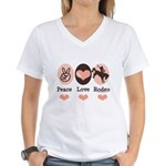 Peace Love Cowboy Rodeo Horse Women's V-Neck T-Shi