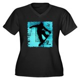 Snowboarding Women's Plus Size V-Neck Dark T-Shirt