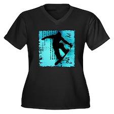 Snowboarding Women's Plus Size V-Neck Dark T-Shirt