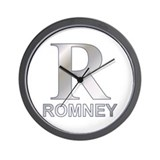 Silver R for Mitt Romney Wall Clock