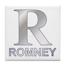 Silver R for Mitt Romney Tile Coaster