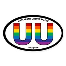 Rainbow UU Bumper Oval Sticker with UUFAQ.COM.