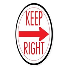 Keep Right Oval Decal