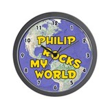 Philip Rocks My World (Gold) Wall Clock