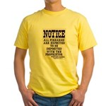 Dodge City Gun Notice Yellow T-Shirt