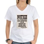 Dodge City Gun Notice Women's V-Neck T-Shirt