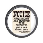 Dodge City Gun Notice Wall Clock