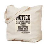 Dodge City Gun Notice Tote Bag