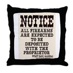 Dodge City Gun Notice Throw Pillow