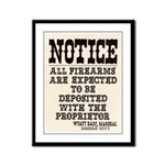 Dodge City Gun Notice Framed Panel Print
