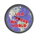 Lila Rocks My World (Red) Wall Clock