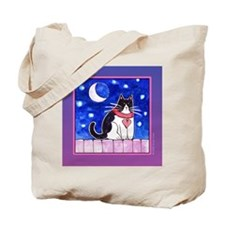 Moonlight Cat Tote/ Grocery or Book Bag
