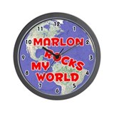 Marlon Rocks My World (Red) Wall Clock